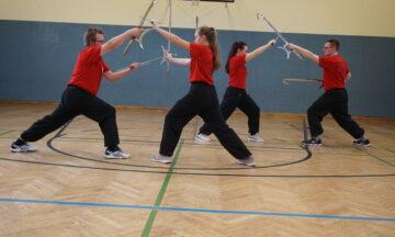 Kung-Fu-Sportler zurück in der Halle